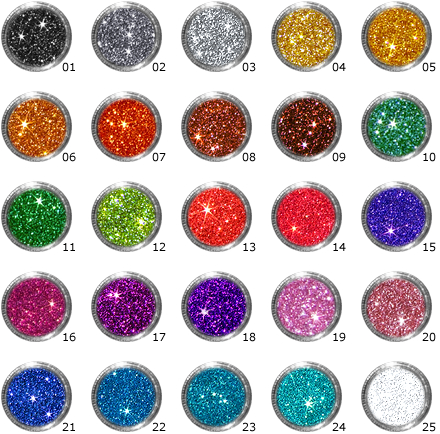 Unsere 25 Standard-Glitzerfarben